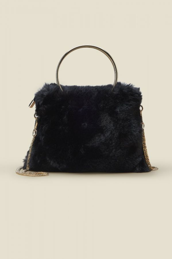 Black Faux Fur Bag With Gold Metal Handle