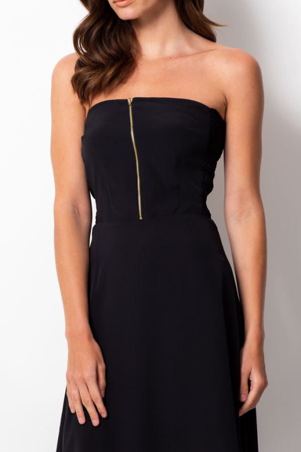 Black Gold Zip Front Detail Bandeau Dress