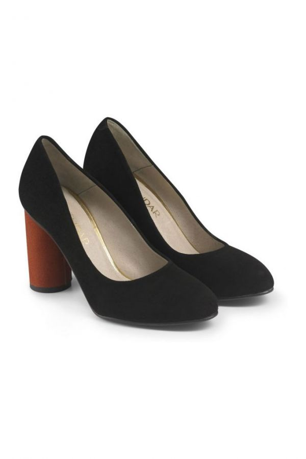 Black Suede Cylinder Heel Court Shoe