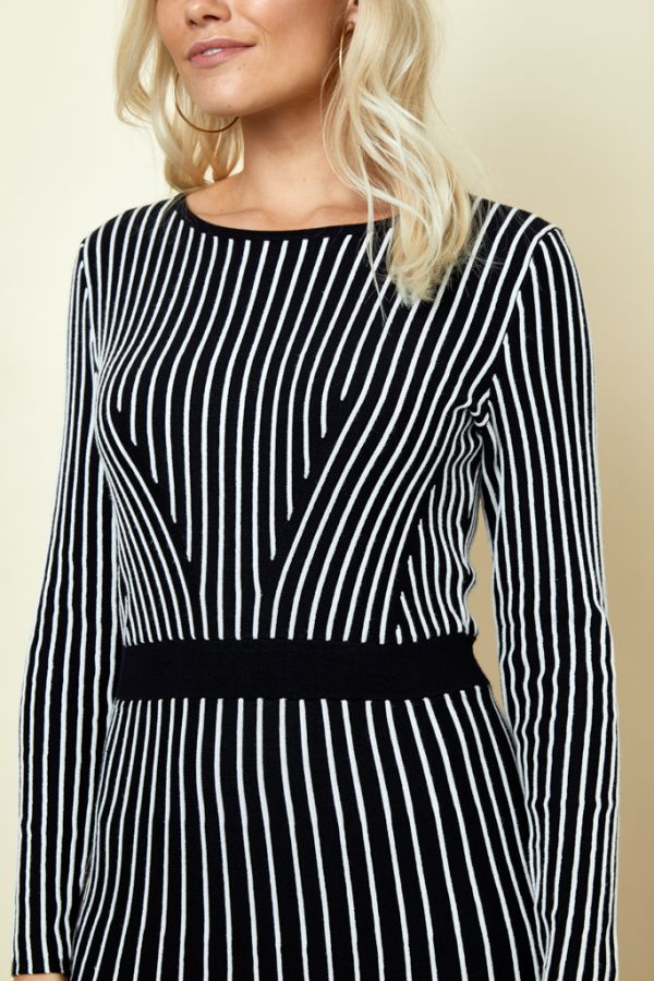 Black & White Stripe Fit & Flare Knitted Dress