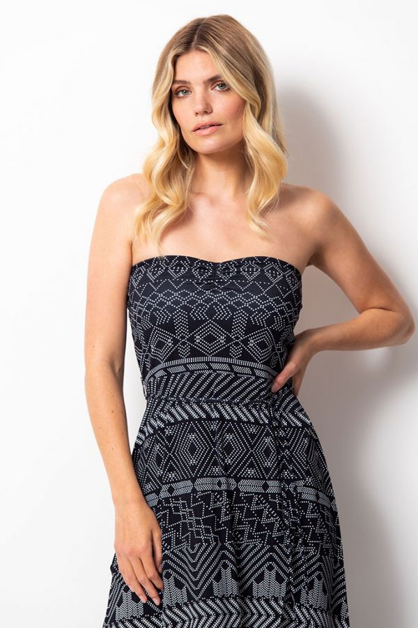 Black & White Aztek Print Split Hem Bandeau Dress