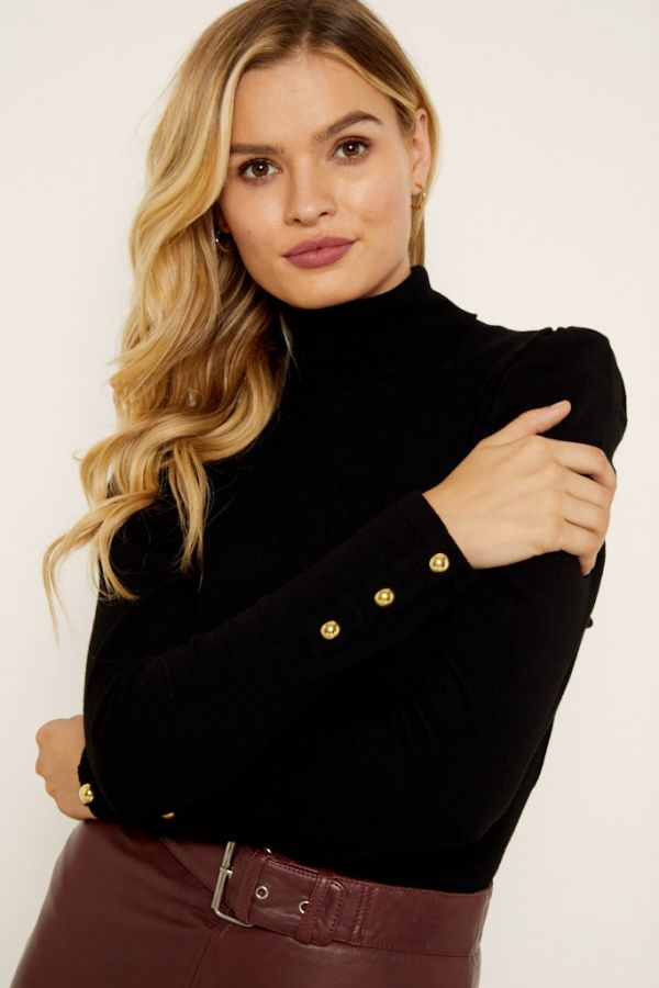 Black Gathered Sleeve Button Detail Jumper