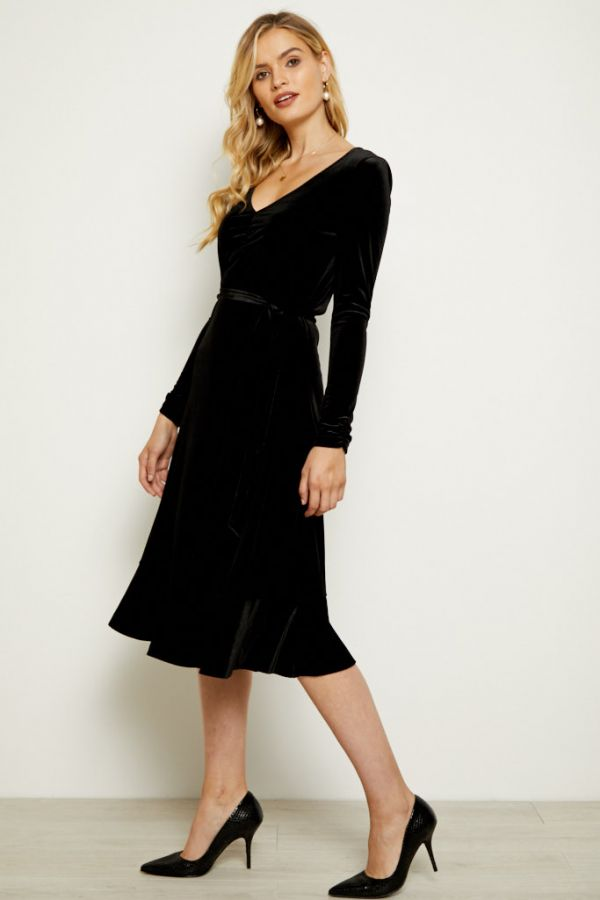 Black Velvet Ruffle Hem V Neck Dress