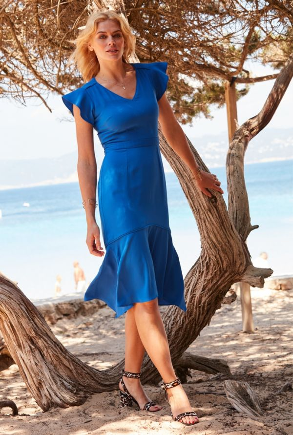 Bright Blue Asymmetric Hem Dress