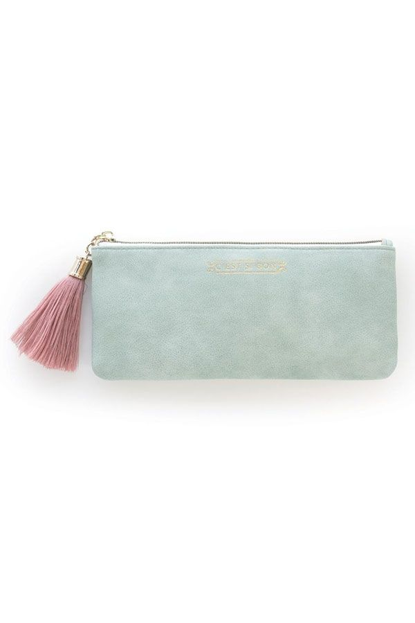 Seafoam Vegan Leather Tassel Pouch