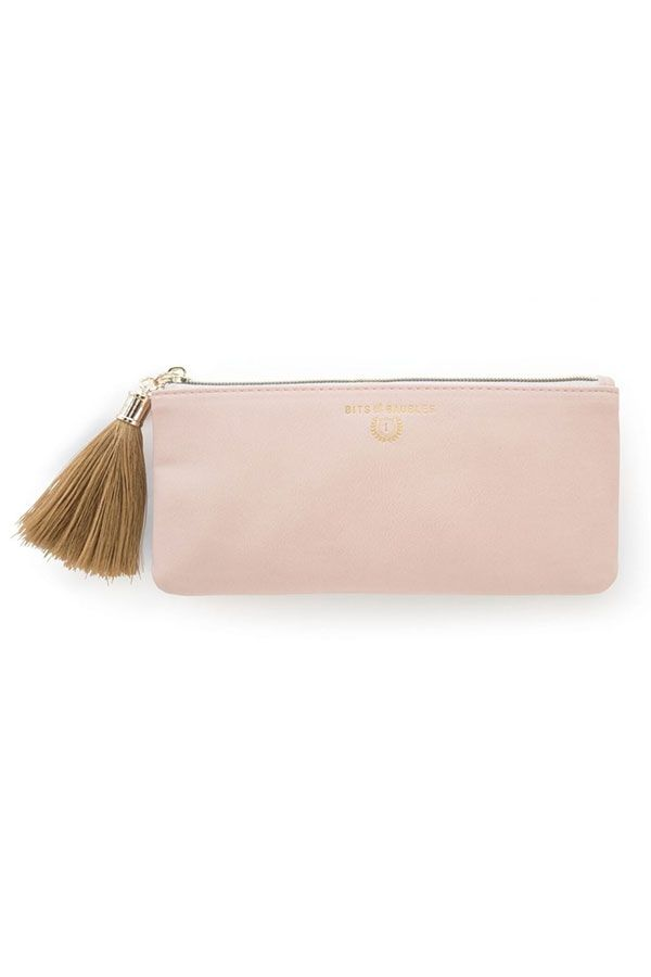 Blush Vegan Leather Tassel Pouch