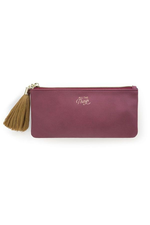 Burgundy Vegan Leather Tassel Pouch