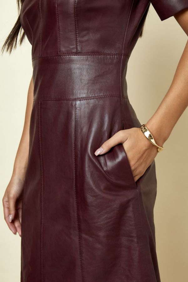 Burgundy Leather Panelled Shift Dress