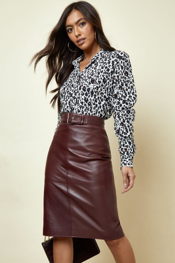 Burgundy Leather Buckle Detail Pencil Skirt