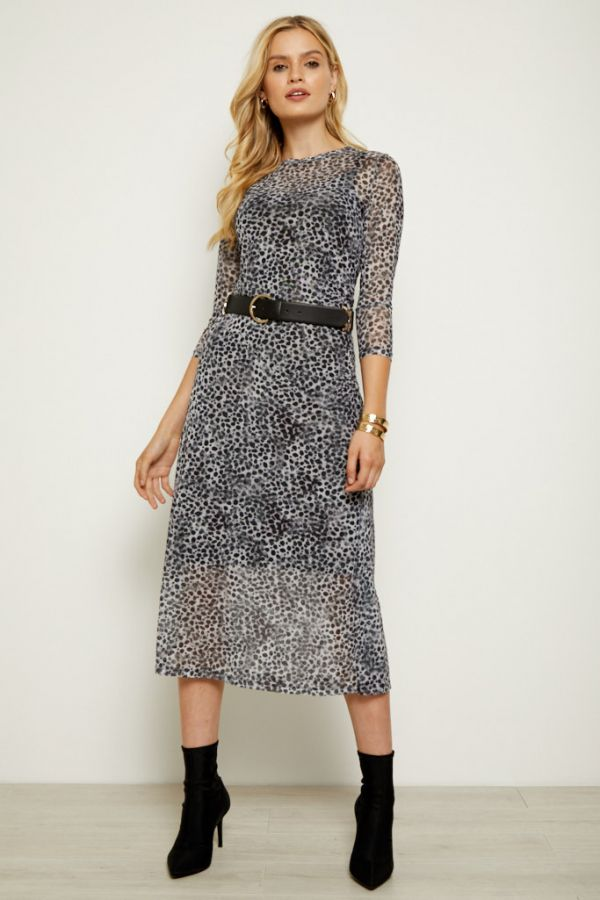 Snow Leopard Print Mesh Dress