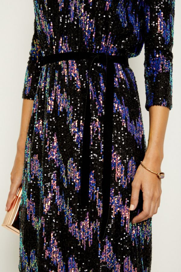 Black Iridescent Sequin Shift Dress