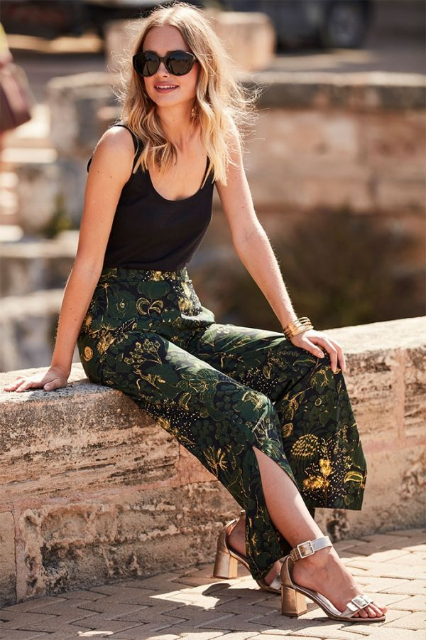 Floral Print Wide Trouser