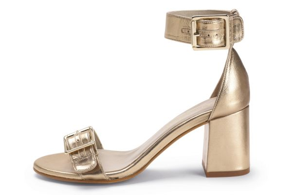 Gold Leather Buckle Strap Sandal