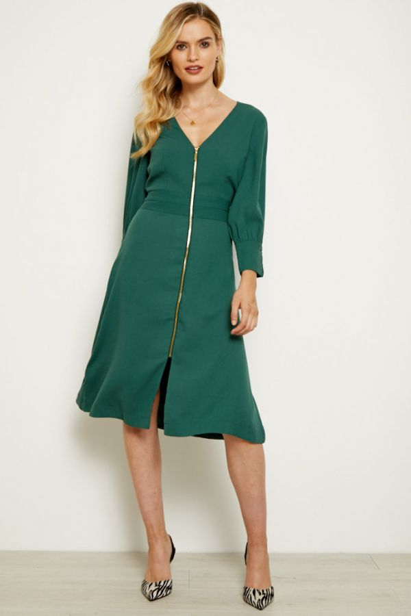 Forest Green Zip Front Fit & Flare Dress