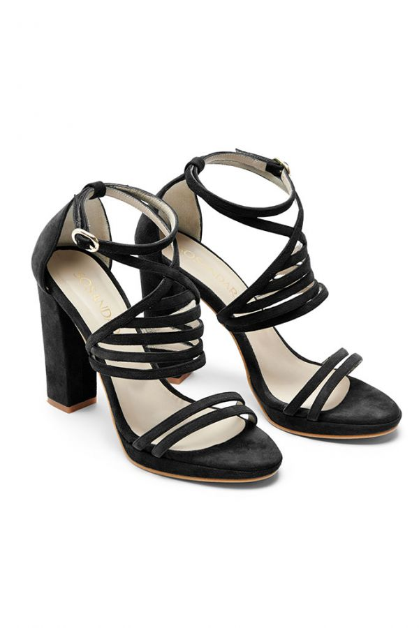 Black Suede Cross Strap Heeled Sandal