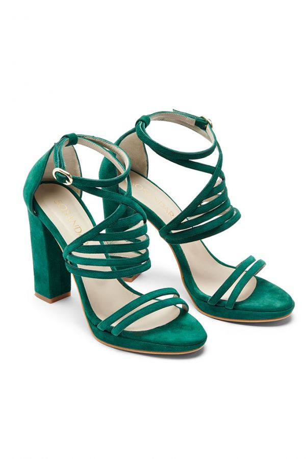 Jade Green Suede Cross Strap Heeled Sandal