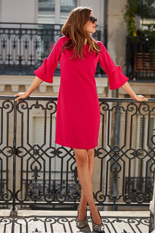 Hot Pink Fluted Sleeve Shift Dress