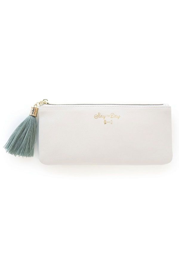 Cream Vegan Leather Tassel Pouch