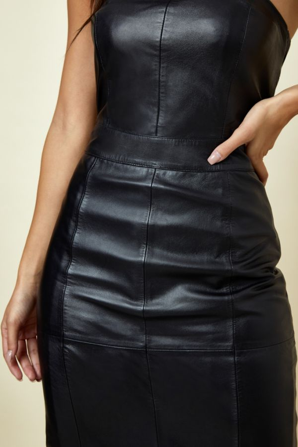 Black Leather Bandeau Dress