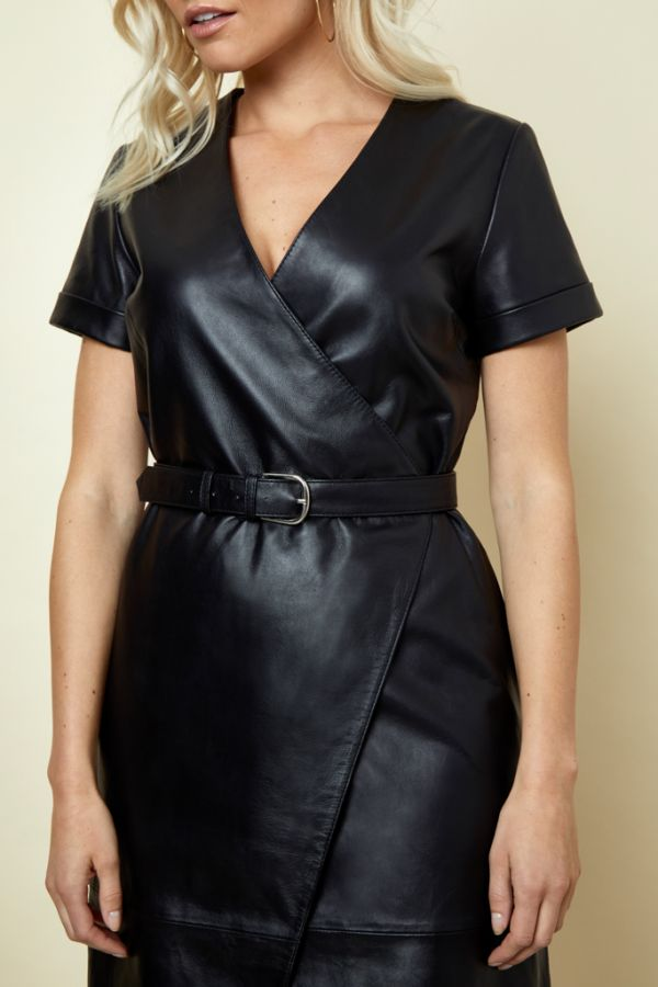 Black Luxury Leather Belted Wrap Dress