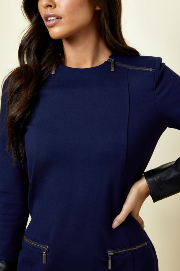 Navy Zip Detail Shift Dress