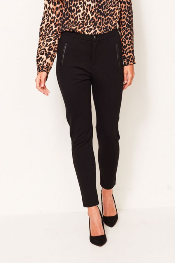 Black Slim Fit Stretch Ponte Trouser