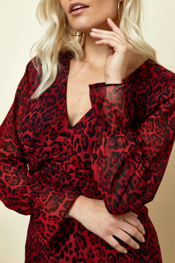 Red Leopard Print Fit & Flare Dress