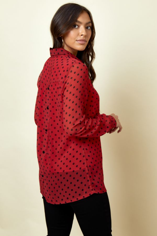 Red & Black Polka Dot Button Detail Shirt