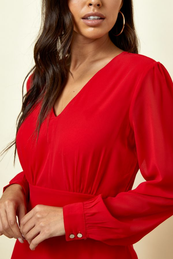 Red V Neck Fit & Flare Dress
