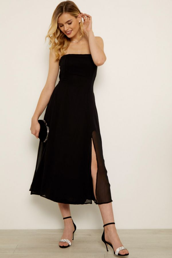 Black Front Split Detail Belted Bandeau Dress
