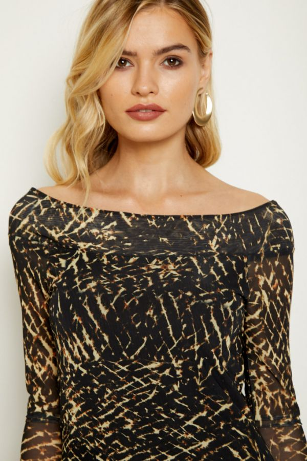 Black & Gold Print Bardot Mesh Midi Dress