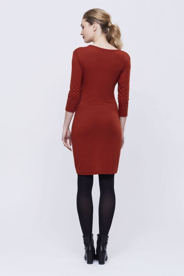Rust Tie Front Jersey Tunic
