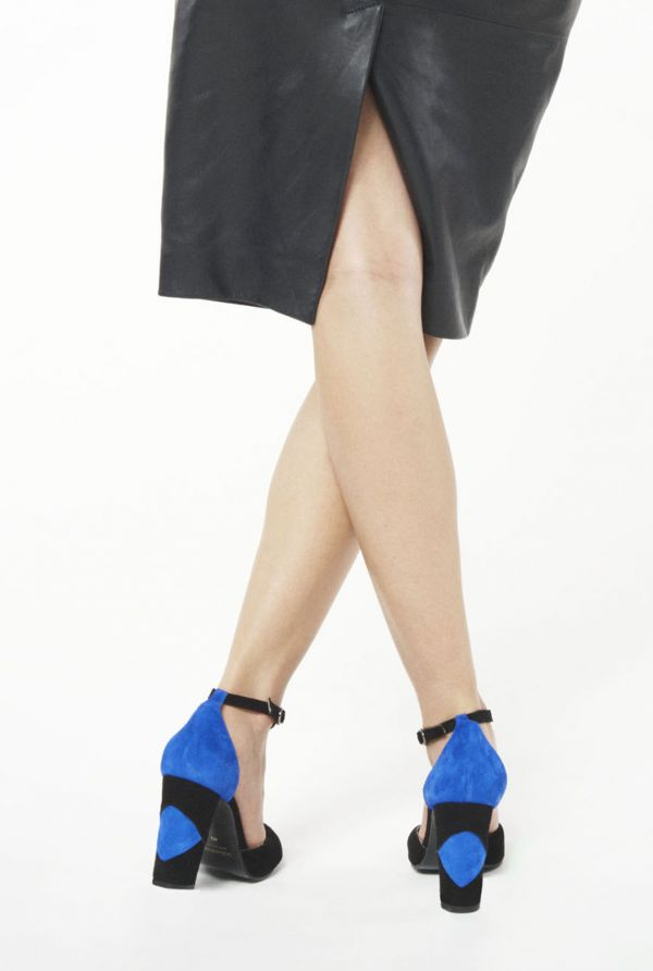 Cobalt and Black Suede T-Bar Court Shoe