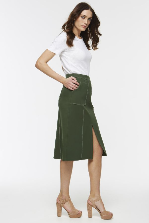 Green Top Stitch Skirt with Pockets