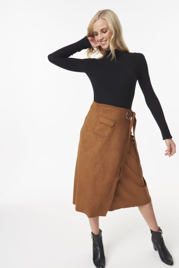 Suedette Wrap Skirt