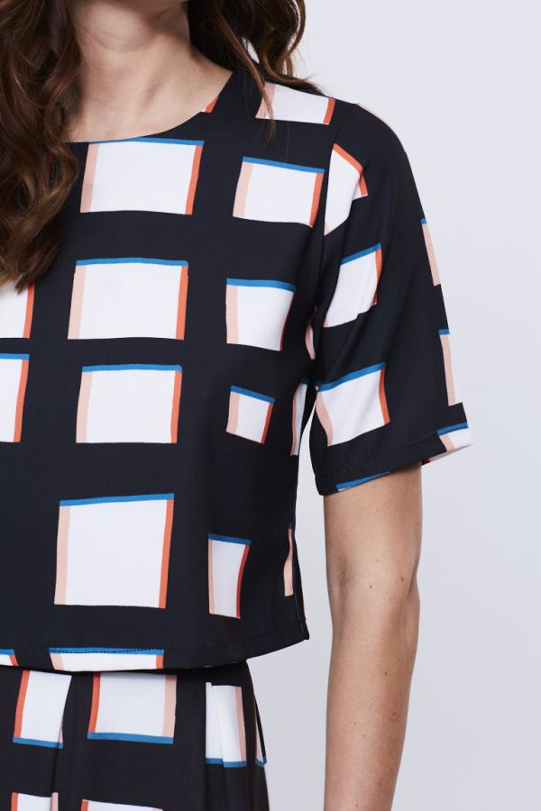 Square Print Co-Ord Shell Top