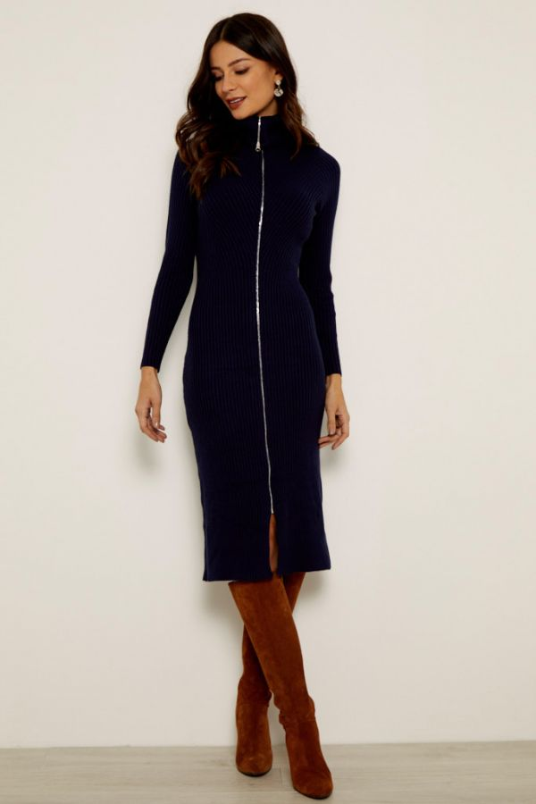 Navy Zip Front Sweater Dress