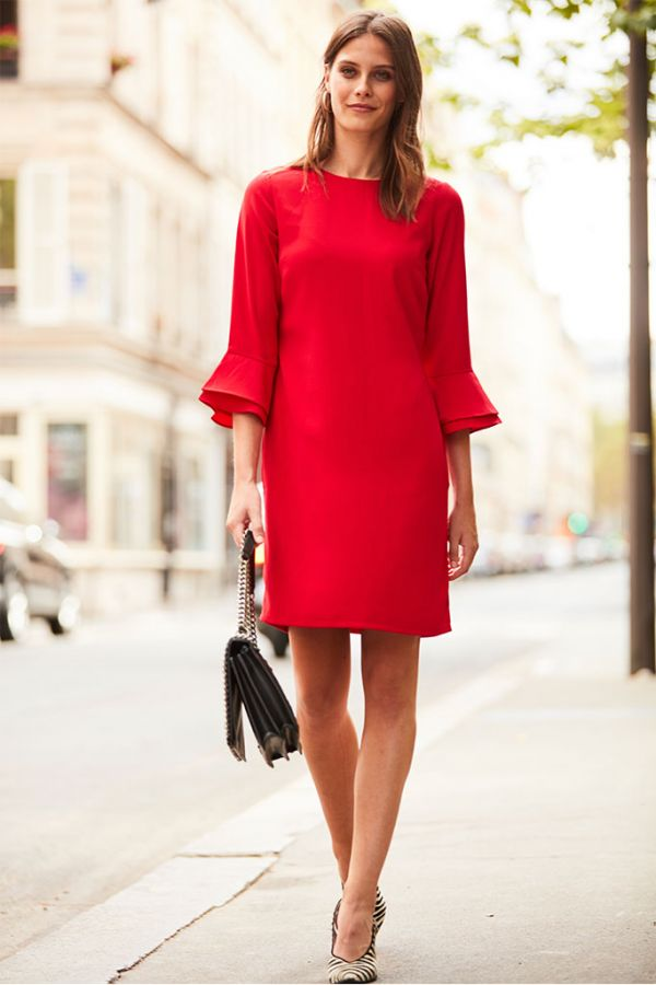 Scarlet Red Double Cuff Shift Dress