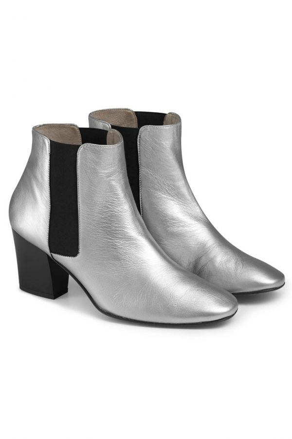 Silver Leather Chelsea Boot