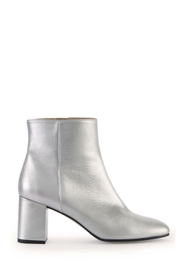 Silver Leather Ankle Boot