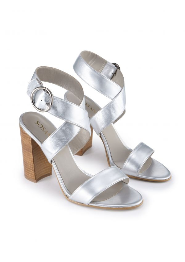 Silver Leather Stack Heel Sandal