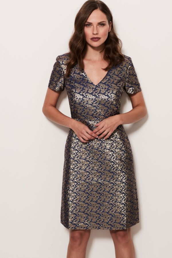 Metallic Jacquard A Line Dress