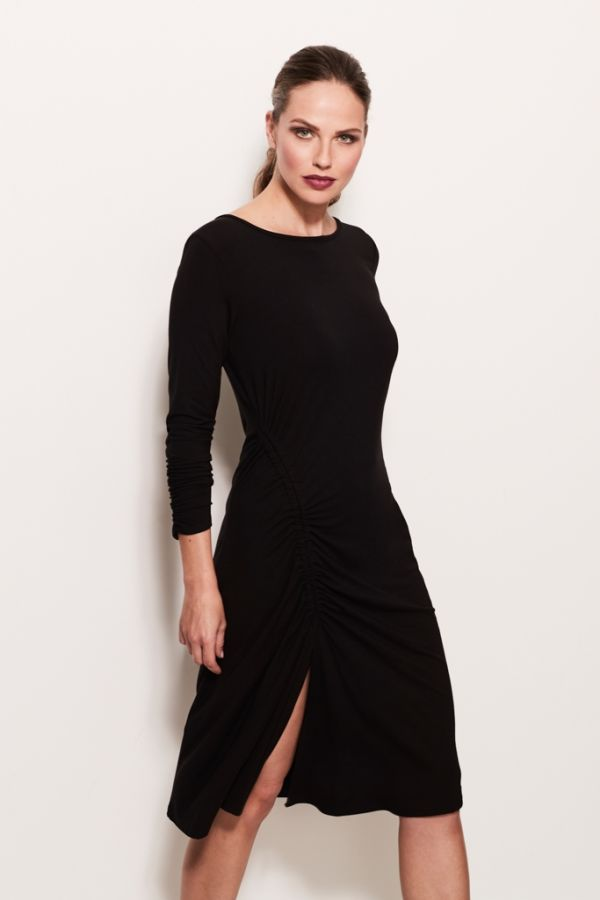 Black Ruched Detail Jersey Tunic Dress