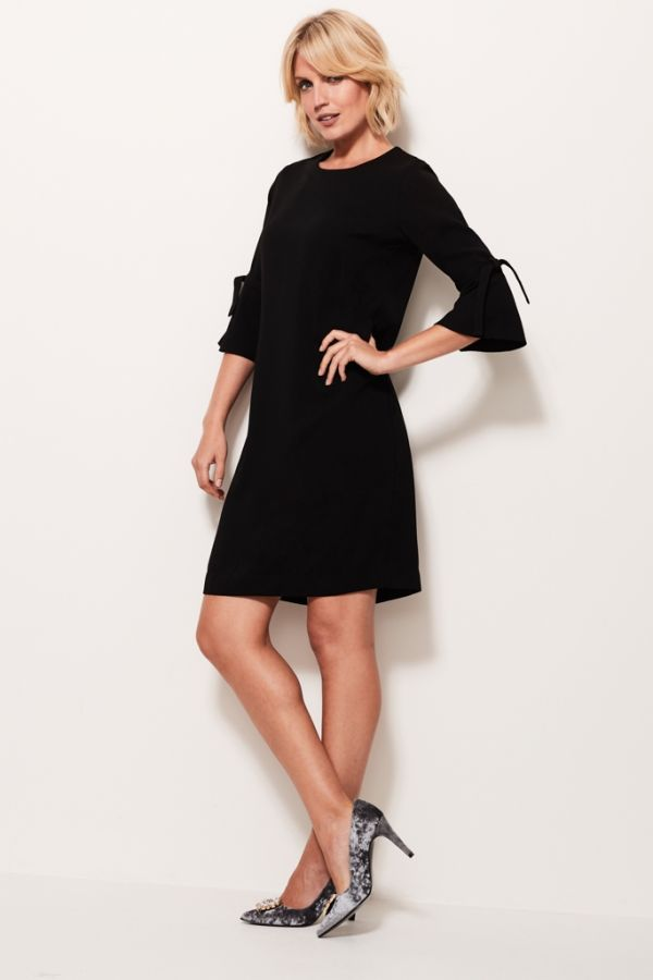 Black Fluted Sleeve Shift Dress