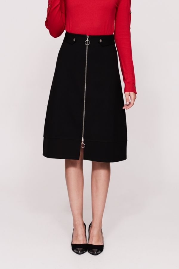 Black A Line Zip Front Ponte Skirt
