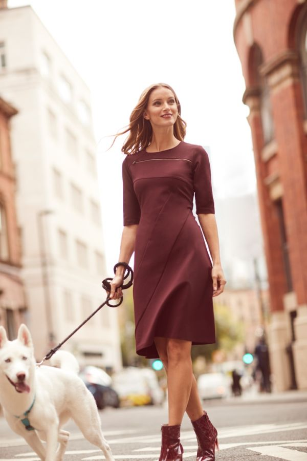 Burgundy Zip Front Fit & Flare Dress