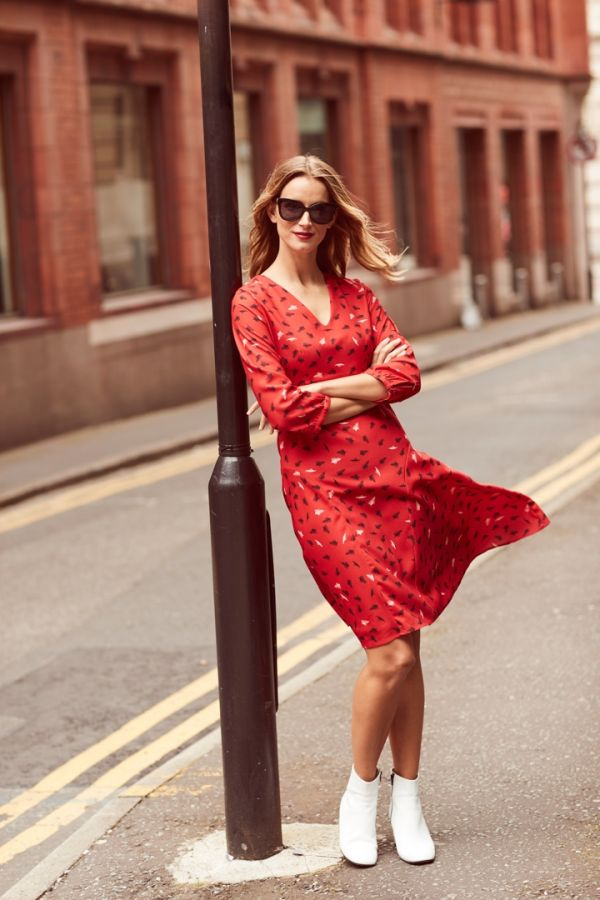 Red Feather Print Fit & Flare Dress