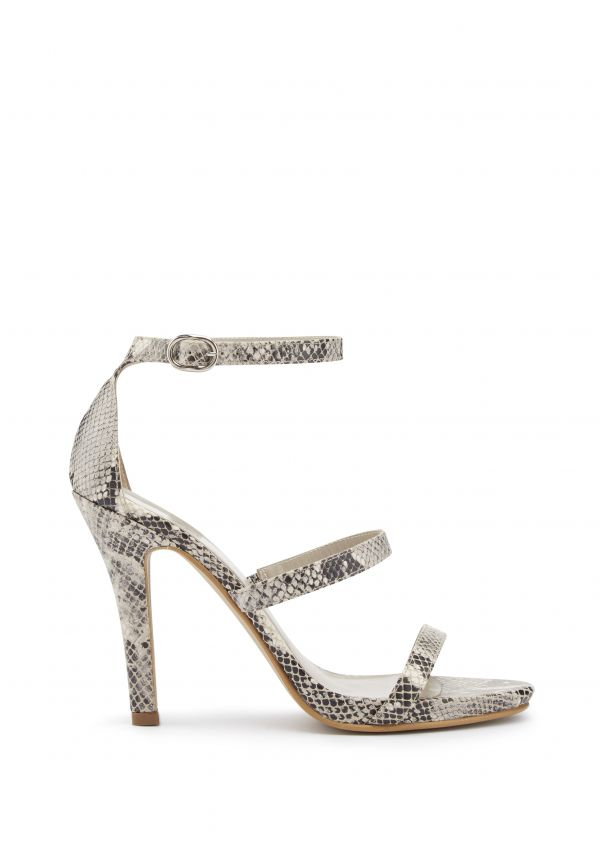 Snake Print Leather Sandal