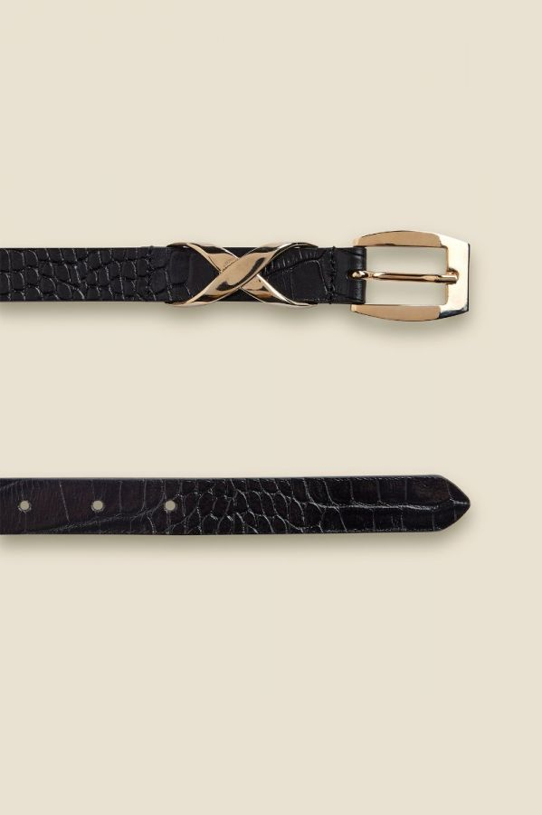 Black Croc Leather Waist Belt With Statement Gold Trim