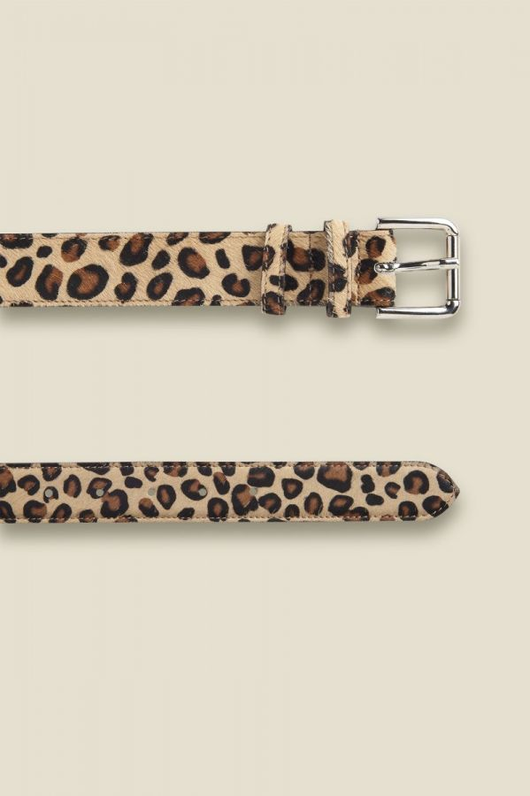Leopard Pony Waist Belt With Gold Square Buckle